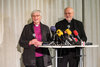 Rt. Rev. Dr Antje Jackel�n Archbishop, Church of Sweden, and Bishop Anders Arborelius O.C.D., Bishop of the Catholic Diocese of Stockholm, address the media at the 30 October press conference. Photo: Albin Hillert